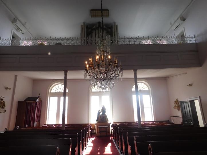 The choir loft where the choir sings beautiful hymns during mass